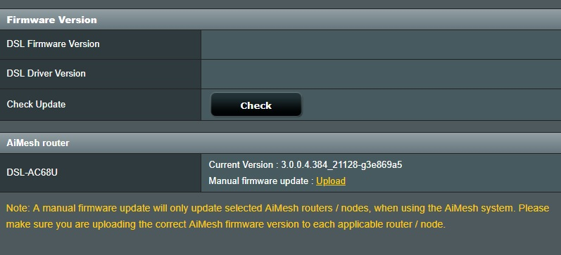Converting DSL-AC68U to RT-AC68U for use as AiMesh Node - Solved